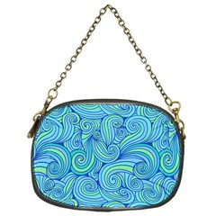 Abstract Blue Wave Pattern Chain Purses (one Side)