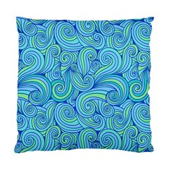 Abstract Blue Wave Pattern Standard Cushion Case (One Side)