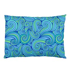 Abstract Blue Wave Pattern Pillow Case