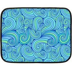 Abstract Blue Wave Pattern Fleece Blanket (mini)