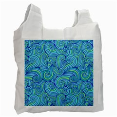 Abstract Blue Wave Pattern Recycle Bag (two Side)