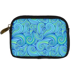 Abstract Blue Wave Pattern Digital Camera Cases