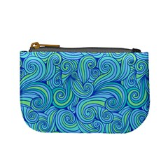 Abstract Blue Wave Pattern Mini Coin Purses