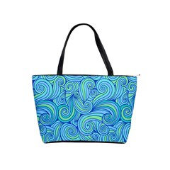 Abstract Blue Wave Pattern Shoulder Handbags