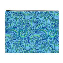 Abstract Blue Wave Pattern Cosmetic Bag (xl)