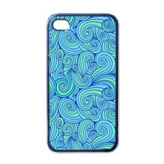 Abstract Blue Wave Pattern Apple iPhone 4 Case (Black)
