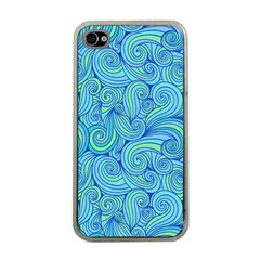 Abstract Blue Wave Pattern Apple Iphone 4 Case (clear)