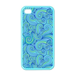 Abstract Blue Wave Pattern Apple iPhone 4 Case (Color)