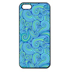 Abstract Blue Wave Pattern Apple iPhone 5 Seamless Case (Black)