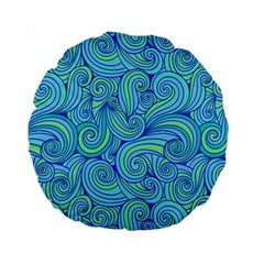 Abstract Blue Wave Pattern Standard 15  Premium Round Cushions