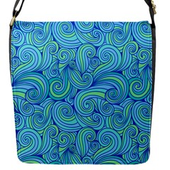 Abstract Blue Wave Pattern Flap Messenger Bag (s)