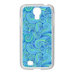 Abstract Blue Wave Pattern Samsung GALAXY S4 I9500/ I9505 Case (White)