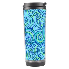 Abstract Blue Wave Pattern Travel Tumbler