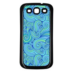 Abstract Blue Wave Pattern Samsung Galaxy S3 Back Case (Black)