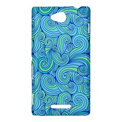 Abstract Blue Wave Pattern Sony Xperia C (S39H)