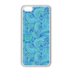 Abstract Blue Wave Pattern Apple iPhone 5C Seamless Case (White)