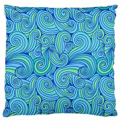 Abstract Blue Wave Pattern Standard Flano Cushion Case (One Side)