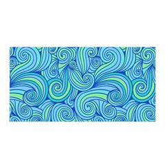 Abstract Blue Wave Pattern Satin Wrap