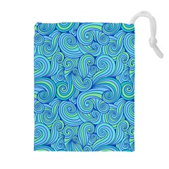 Abstract Blue Wave Pattern Drawstring Pouches (Extra Large)