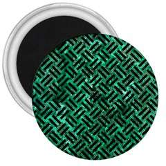 Woven2 Black Marble & Green Marble (r) 3  Magnet