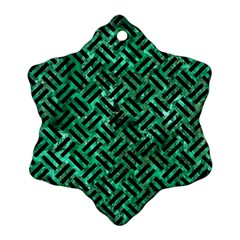 Woven2 Black Marble & Green Marble (r) Ornament (snowflake)