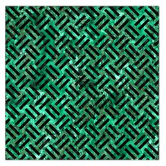 Woven2 Black Marble & Green Marble (r) Large Satin Scarf (square)