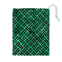 Woven2 Black Marble & Green Marble (r) Drawstring Pouch (xl)