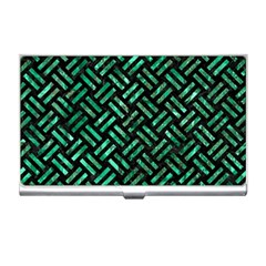 Woven2 Black Marble & Green Marble Business Card Holder