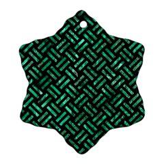 Woven2 Black Marble & Green Marble Ornament (snowflake)