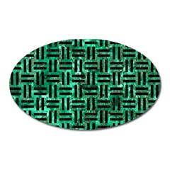 Woven1 Black Marble & Green Marble (r) Magnet (oval)