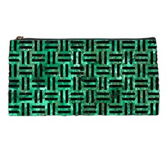 Woven1 Black Marble & Green Marble (r) Pencil Case