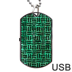 Woven1 Black Marble & Green Marble (r) Dog Tag Usb Flash (one Side)