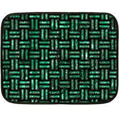 Woven1 Black Marble & Green Marble Fleece Blanket (mini)