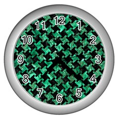Houndstooth2 Black Marble & Green Marble Wall Clock (silver)
