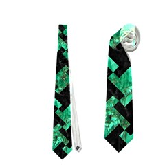 Houndstooth2 Black Marble & Green Marble Necktie (two Side)