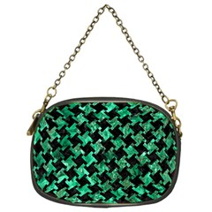 Houndstooth2 Black Marble & Green Marble Chain Purse (one Side)