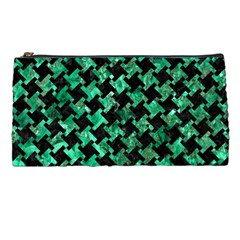 Houndstooth2 Black Marble & Green Marble Pencil Case