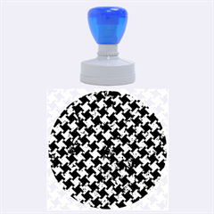 Houndstooth2 Black Marble & Green Marble Rubber Stamp Round (large)