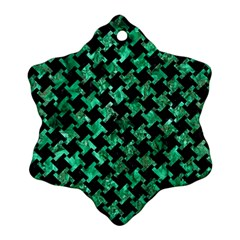 Houndstooth2 Black Marble & Green Marble Ornament (snowflake)