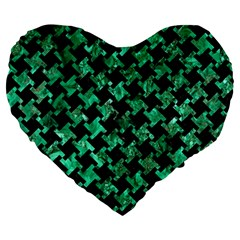 Houndstooth2 Black Marble & Green Marble Large 19  Premium Heart Shape Cushion