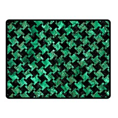 Houndstooth2 Black Marble & Green Marble Double Sided Fleece Blanket (small)