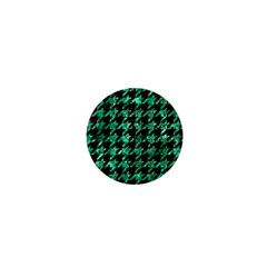 Houndstooth1 Black Marble & Green Marble 1  Mini Button