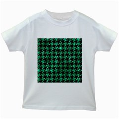Houndstooth1 Black Marble & Green Marble Kids White T Shirt