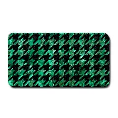 Houndstooth1 Black Marble & Green Marble Medium Bar Mat