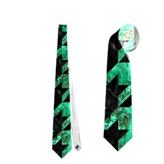 Houndstooth1 Black Marble & Green Marble Necktie (two Side)
