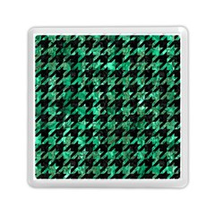 Houndstooth1 Black Marble & Green Marble Memory Card Reader (square)
