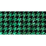 HOUNDSTOOTH1 BLACK MARBLE & GREEN MARBLE Twin Heart Bottom 3D Greeting Card (8x4) Front