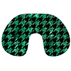 Houndstooth1 Black Marble & Green Marble Travel Neck Pillow