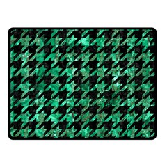 Houndstooth1 Black Marble & Green Marble Double Sided Fleece Blanket (small)