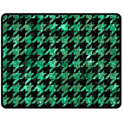 Houndstooth1 Black Marble & Green Marble Double Sided Fleece Blanket (medium)